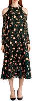 Jason Wu Floral-Embroidered Cold-Shoulder Dress, Black Pattern