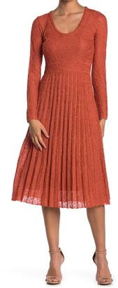 M Missoni Pleated Metallic Knit Midi Dress