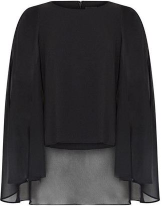 Adrianna Papell Crepe Chiffon Cape Top