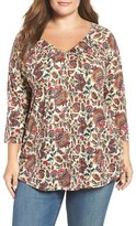 Lucky Brand Plus Size Women's Printed Pintuck Top