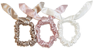 Slip Bunny Scrunchie 3 Pack in Pink, White & Caramel | FWRD