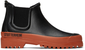 Stutterheim Black and Orange Rainwalker Chelsea Boots
