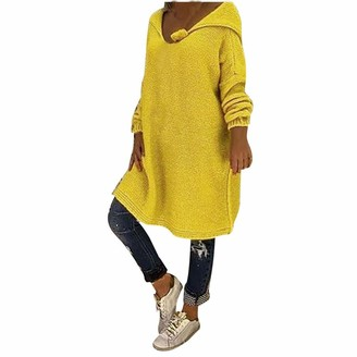 Aiserkly Womens Solid V Neck Plus Size Knitted Sweater Batwing Long Sleeve Jumper Pullovers Hooded Knitwear Jumper T-Shirt Tunic Tops Yellow XL
