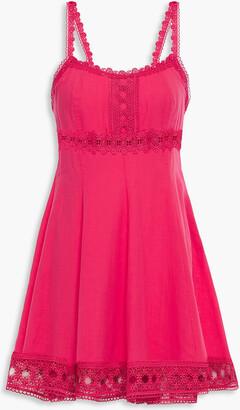 Charo Ruiz Ibiza Crocheted Lace-trimmed Cotton-blend Gauze Mini Dress
