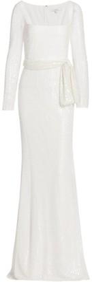 Badgley Mischka Beaded Long-Sleeve Gown
