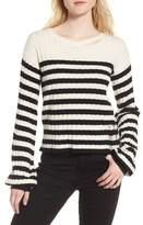 Pam & Gela Women's Destroyed Stripe Sweater