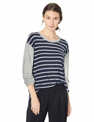 Michael Stars Women's Madison Brushed Stripe Colorblock Long Sleeve Scoop Neck