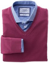 Berry Merino Wool V-neck Jumper Size Xxl By Charles Tyrwhitt