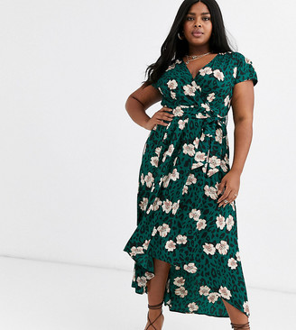 AX Paris Plus wrap midi dress in floral print