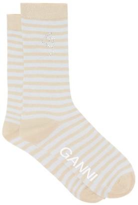 Ganni Crystal-logo Striped Lurex Socks - Cream Stripe