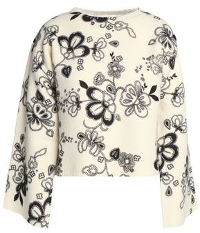 See by Chloe Cropped Floral-print Wool Sweater