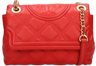 Tory Burch Flemming Soft Shoulder Bag In Red Leather