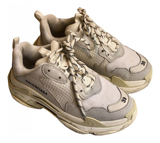 Balenciaga Triple S Beige Leather Trainers