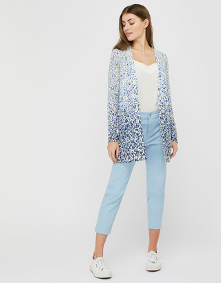 Monsoon Poppy Floral Longline Cardigan in Linen Blend Blue