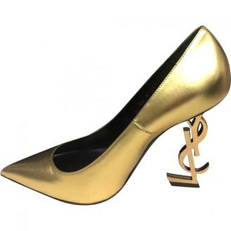 Saint Laurent Opyum Gold Leather Heels