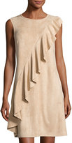 Neiman Marcus Asymmetric Ruffled Faux-Suede Dress, Blush