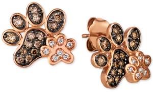 LeVian Le Vian Nude & Chocolate Diamond Paw Prints Stud Earrings (3/8 ct. t.w.) in 14k Rose Gold