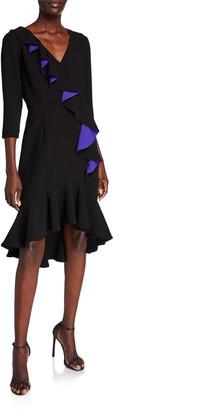 Shani V-Neck 3/4-Sleeve High-Low Ruffle Crepe Dress