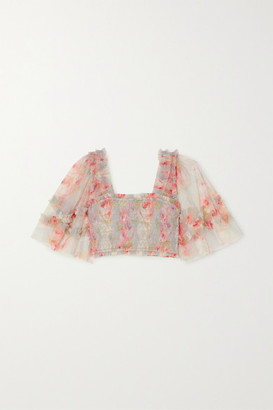 Needle & Thread Ruby Bloom Smocked Ruffled Floral-print Tulle Top - Sky blue
