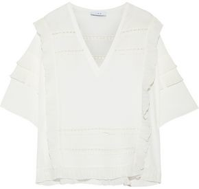 IRO Cauland Ruffled Georgette-trimmed Crepe Top