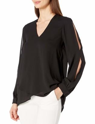 Karen Kane Women's Black Split Sleeve Crossover Top