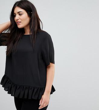 ASOS DESIGN Curve woven t-shirt with ruffle hem