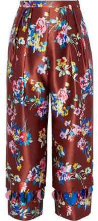 DELPOZO Cropped Embellished Floral-Print Silk-Satin Twill Straight-Leg Pants