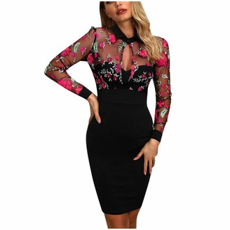 Your New Look Womens Mesh Patchwork Flower Embroidery Bodycon Dress Sexy Lapel Front Keyhole Floral Mini Pencil Dress for Work Party Black