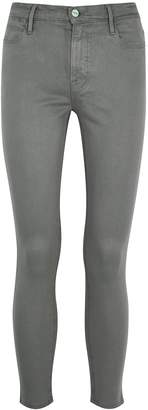 Frame Le High Skinny Crop Coated Grey Jeans