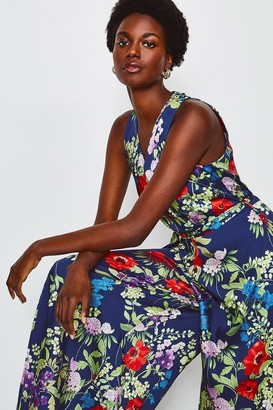 Karen Millen Floral Print Halterneck Jumpsuit