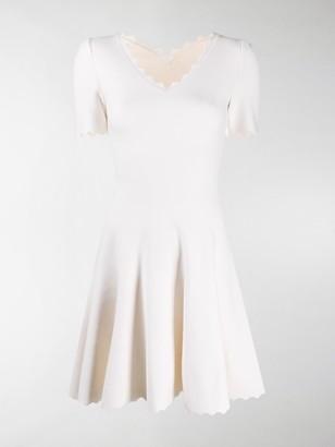 Alaia V-neck scalloped knit dress