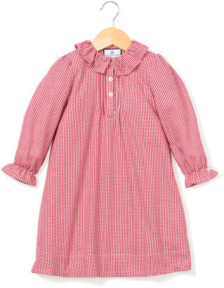 Petite Plume Victoria Ruffle-Collar Gingham Nightgown, Size 6M-14