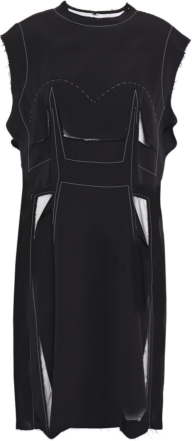 Maison Margiela Cutout Frayed Stretch-crepe Dress