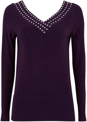 Wallis Berry Stud V-Neck Jumper
