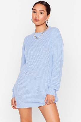 Nasty Gal Womens Keep Knit to Yo'self Petite Mini Dress - Blue - 4