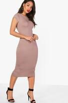 boohoo Cara Cap Sleeve Jersey Bodycon Midi Dress