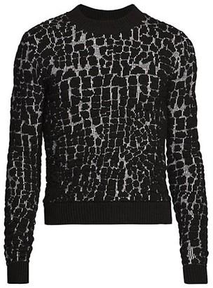 Saint Laurent Textured Wool-Blend Crewneck Sweater