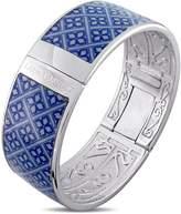 Laura Ashley Rhodium Plated Vintage Blue Enamel Bangle