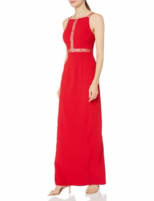 Aidan Mattox Women's Long Crepe Gown with Lace Illusion Detail