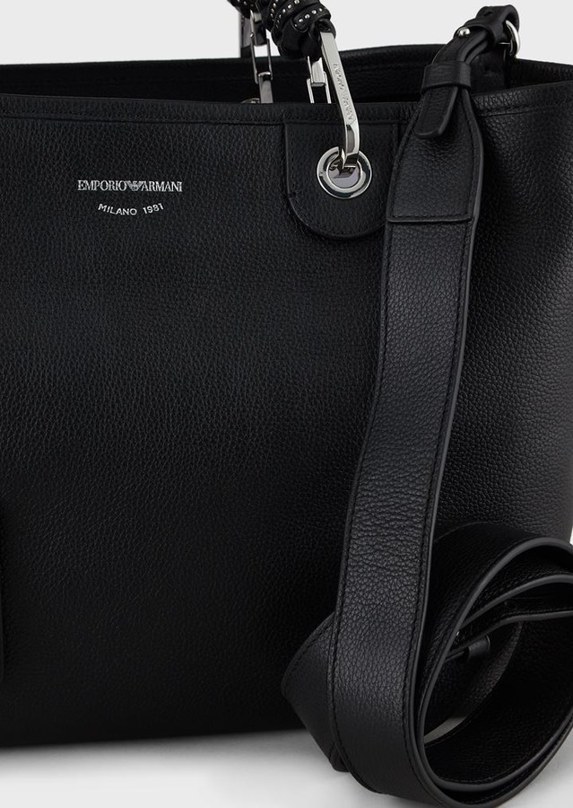 Thumbnail for your product : Emporio Armani Myea Bag Leather Shopper Bag With Studded Handles