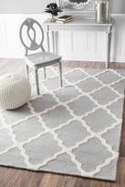 nuLoom Hand Hooked Marrakech Trellis Wool Rug - Light Gray