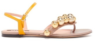 Rochas Bead-embellished Leather Sandals - Yellow Gold