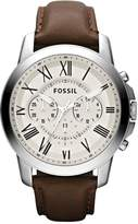 Fossil Grant Egg-Shell Dial Brown Leather Strap Mens Watch