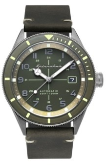 Spinnaker Men's Cahill Automatic Green Genuine Leather Strap Watch 43mm