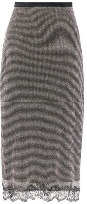 Christopher Kane Crystal-chainmail Lace-trimmed Wrap Skirt - Silver