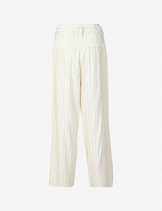 Paige Nevada high-rise linen-blend trousers
