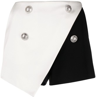 Balmain Two-Tone Wraparound Skort