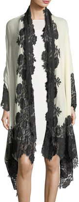 Bindya Accessories Cashmere Evening Stole Wrap w/ Lace Trim