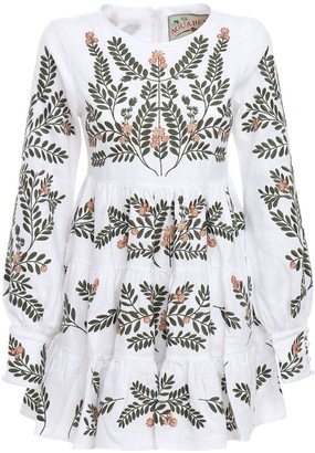 Agua Bendita Nuez Embroidered Linen Mini Dress
