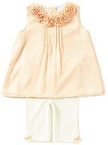 Edgehill Collection Baby Girls Newborn-24 Months Rosette Chiffon Top & Leggings Set